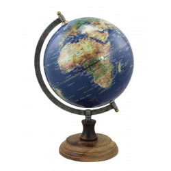 Globe - donkerblauw - antiek messing - 20 cm