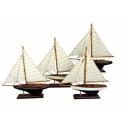 Zeilboot luxe donkerblauw/rood - 33 cm