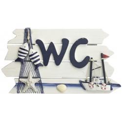 Text Board - WC- boat & net - 24 cm