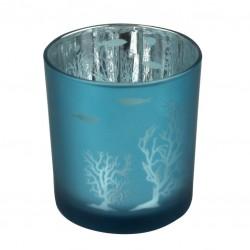 Theelichthouder koraal - blauw - 8 cm (laatste stuks)