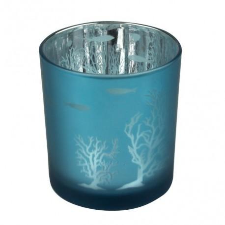 Theelichthouder koraal - blauw - 8 cm