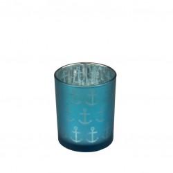 Tea light holder anchor - blue - 7 cm
